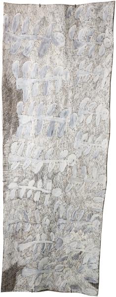 Nyapanyapa Yunupingu Dharpa, 2017; 1673-17; natural earth pigments on bark; 196 x 74 cm; enquire