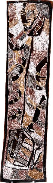Nyapanyapa Yunupingu Mungurrawuy Saved by Dolphins, 2008; natural earth pigments on bark; 156 x 41 cm; enquire