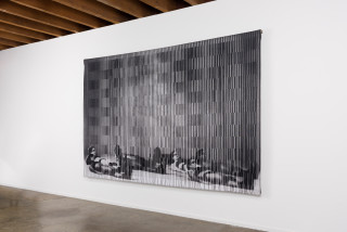 installation view; David Noonan Untitled, 2019; jacquard tapestry, unique, stainless steel hanging system; 190 x 300 cm; enquire