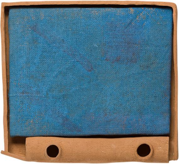 Jake Walker Untitled, 2014; acrylic on jute, artist's earthenware frame; 33.5 x 41 cm; enquire