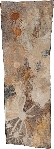 Nyapanyapa Yunupingu untitled, 2018; 4172-18; natural earth pigments on bark; 237 x 85 cm; Enquire
