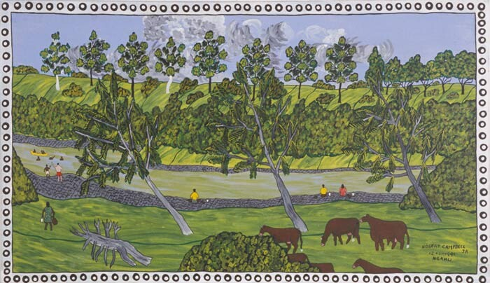 Robert Campbell Jnr Fishing and swimming at Turoolka, 1991; acrylic on canvas; 57.5 x 100 cm; enquire