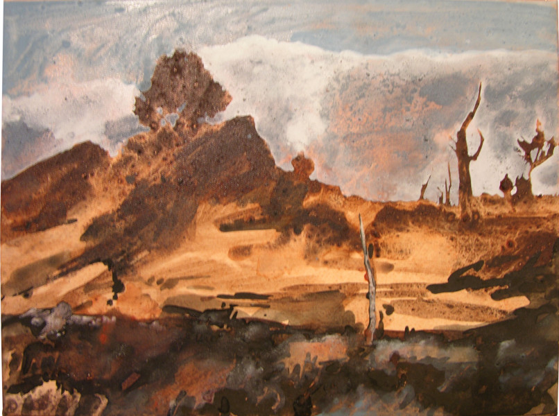 Mandy Martin Mt Collins Road 2, 2004; ochre, pigment and acrylic on Arches paper; 30 x 40 cm; enquire
