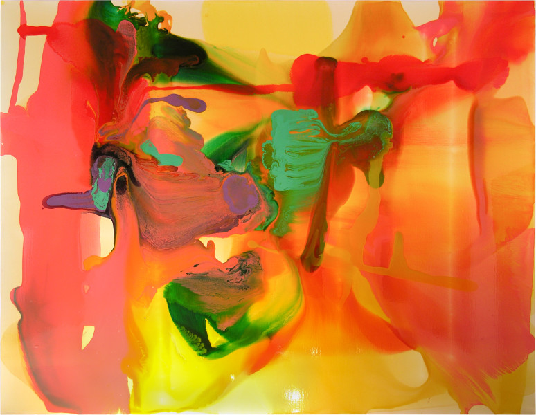 Dale Frank Half sprawling falling across the front of the car her fingers pulling adjusting her ridding up Target knickers. Art is not a victimless crime she murmured glancing at her artist boyfriend., 2006; varnish on canvas; 200 x 260 cm; enquire