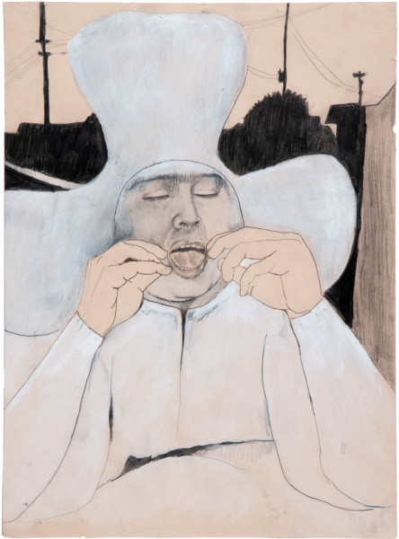 Hossein Ghaemi Issiac attempting to get domestic, 2009; gouache and pencil on paper; 38 x 28 cm; enquire