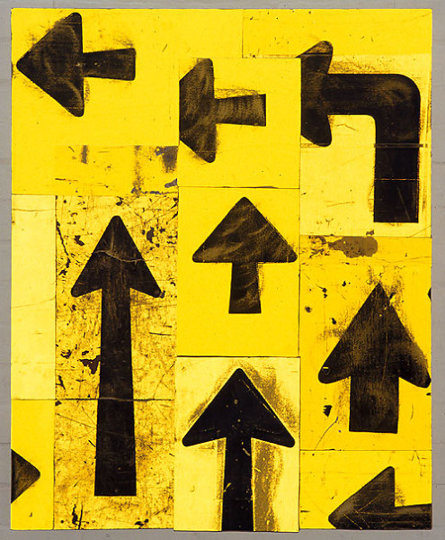 Rosalie Gascoigne Directives, 1999; retro reflective roadsign on wood; 111 x 88.5 cm; enquire