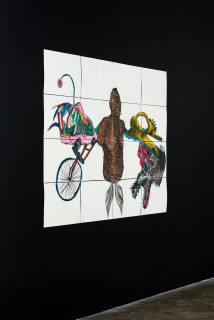installation view; Pierre Mukeba KINGA, 2021; charcoal and pastel on archival paper; 120 x 168 cm; enquire