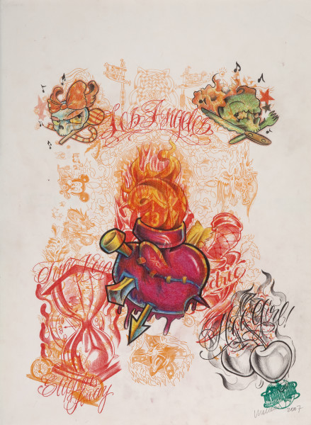 Wim Delvoye Untitled (tattoo drawing #1), 2007; pencil and coloured pencil on paper; 50.5 x 37.5 cm; enquire