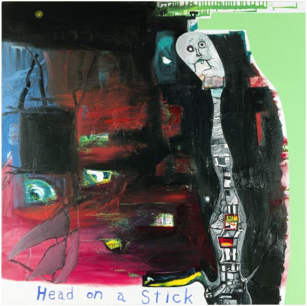 Gareth Sansom Head on a stick, 2013; oil and enamel on linen; 122 x 122 cm; enquire