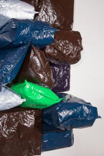 Jim Lambie Purple Night, 2015; Potato bags, acrylic paint, expanding foam on canvas; 171 x 124 x 64 cm; enquire
