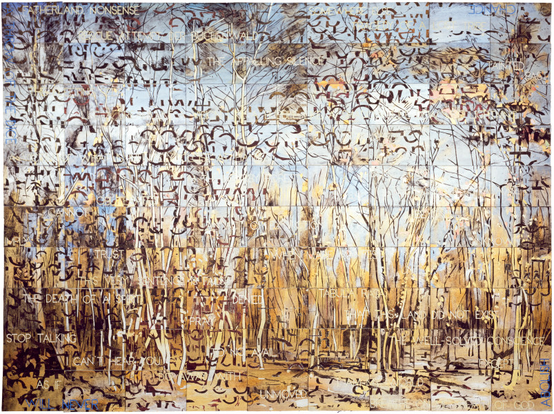 Imants Tillers The Beech Forest, 2010; acrylic, gouache on 90 canvasboards, no. 85589 - 85678; 254 x 343 cm; enquire