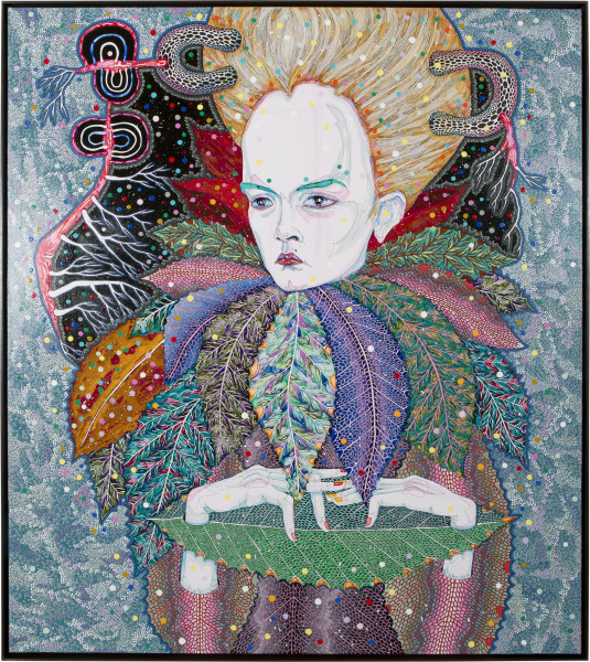 Del Kathryn Barton of pollen, 2013; synthetic polymer paint and gouache on polyester canvas; 163 x 143 cm; enquire