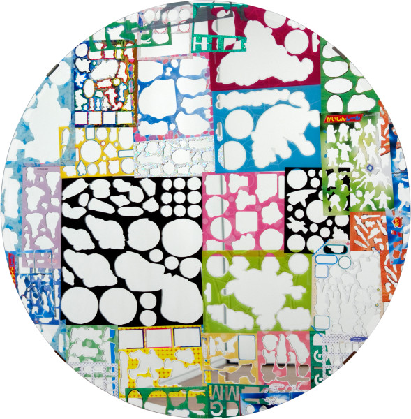 Teppei Kaneuji Ghost Buildings (Mirror #1 ), 2011; mirror, assorted sticker sheets; 70 x 70 cm; enquire