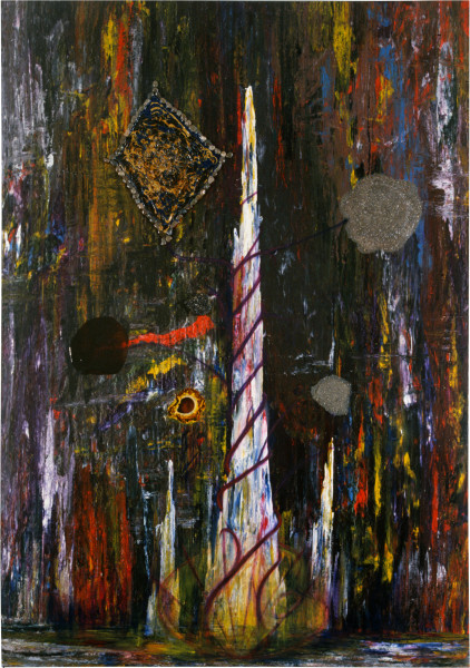 Dale Frank The Vine of the Prince and The Fountain and the Spirit of the City Night Wings (The Delusiuon Vine), 1986; acrylic & mixed media on canvas; 280 x 200 cm; enquire