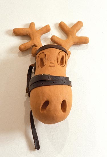 Linda Marrinon Moose Head, 1994; terracotta; 44.5 cms high; enquire
