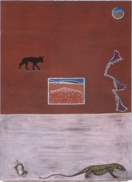 Fiona Foley December 1990, 1990; collage, ink, pastel, pencil, pigment and feather on paper; 76.5 x 57 cm; enquire
