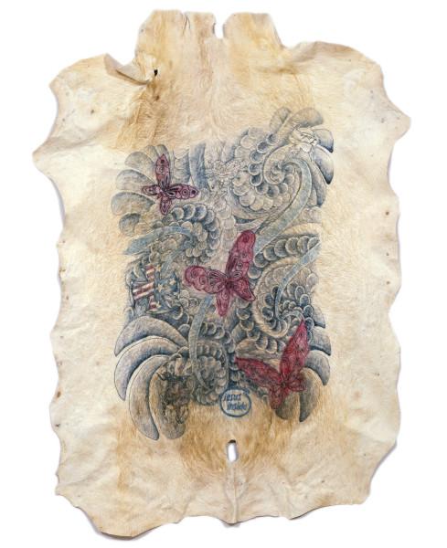 Wim Delvoye Untitled (Butterflies/Jesus Inside), 2007; tatooed pigskin, framed between glass; 190 x 139 cm; enquire