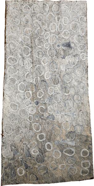 Nyapanyapa Yunupingu Untitled, 2015; 4878O; Bark painting; 187 x 92 cm; enquire