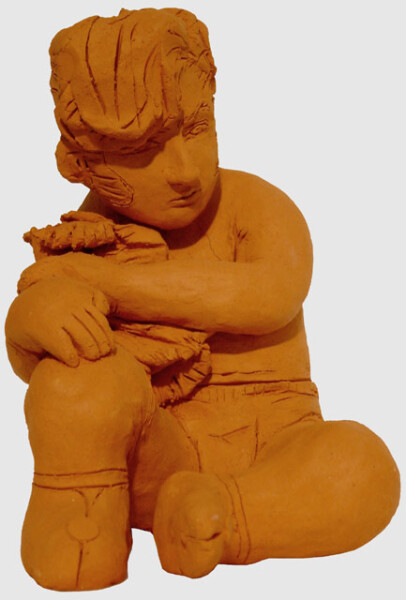 Linda Marrinon Man with Towel, 1999; Terracotta; 19.5 x 13.5 x 17 cm; enquire