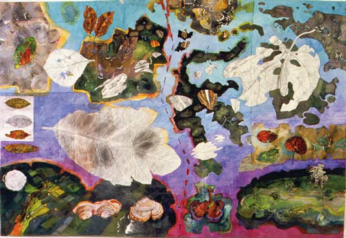 John Wolseley Tracing the Wallace Line; wing leaf and land, 1999; watercolour on paper; 136 x 205 cm; enquire