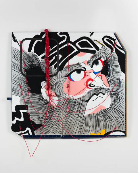 Claire Healy and Sean Cordeiro Shoki, 2020; Iroquois aircraft panel, acrylic gouache, polyester cord; 130 x 145 x 10 cm; enquire