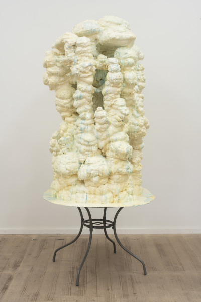 Dale Frank Jean-Michel told me that Gay was just a white problem because there was no gay niggers (sorry negros) which was strange because he lived two floors above the Black Hole Club, 2016; compression foam and pigmented resin on steel table; 245 x 117 x 120 cm; Enquire