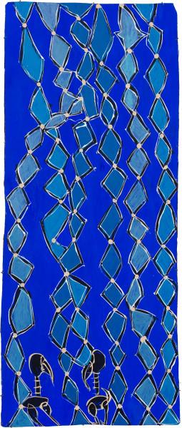 Dhambit Munuŋgurr Djirikitj, 2021; 2025-21; earth pigments and acrylic on bark; 241 x 103 cm; enquire