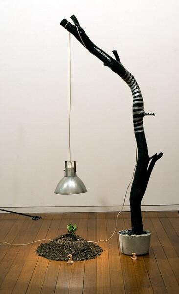 Mikala Dwyer 3, 2009; lamp, wood, concrete, enamel paint; 171 x 72 x 78 cm; enquire