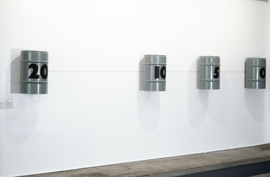 Janet Burchill Twenty Drums, 1990; enamel & stencil ink on steel drums, string; dimensions variable; enquire