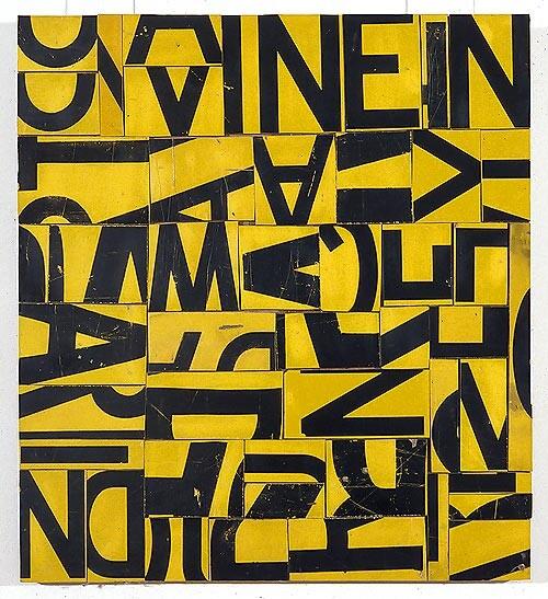 Rosalie Gascoigne Danegeld, 1995; retro-reflective roadsign on craftboard; 63 x 57.5 cm; enquire