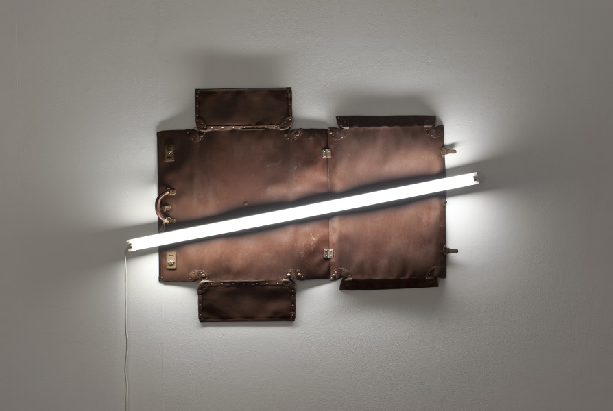 Bill Culbert Globite, 2009; leather suitcase, fluorescent light; 100 x 150 x 10 cm; enquire