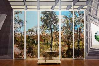 installation view; Gary Carsley D.98. On The Wallaby Track, 2010-20; C-type print, dibond with split battens, IKEA cupboard, chair and stool; overall dimensions as assembled: 236.4 x 60 x 100 cm; enquire