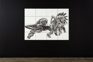 installation view; Pierre Mukeba Falsidical Paradox (P1), 2021; charcoal on archival paper; 120 x 168 cm; enquire