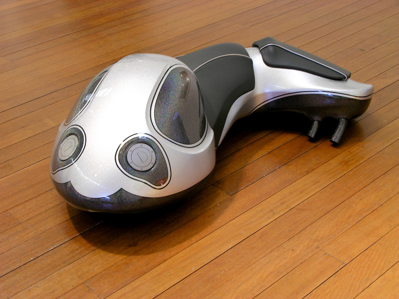 Patricia Piccinini Cyclepups: Nebula, 2005; fibreglass, automotive paint, leather and stainless steel; 40 x 110 x 50 cm; enquire