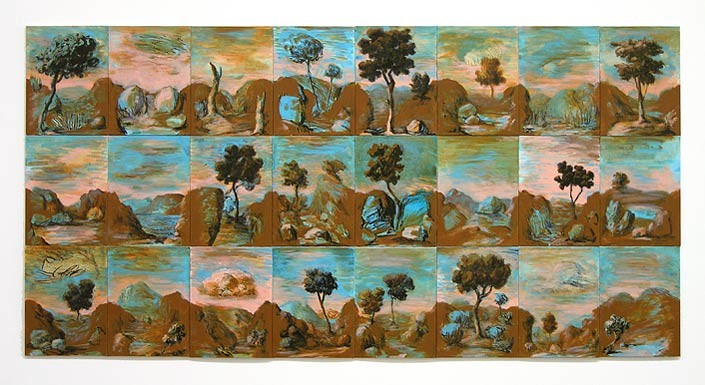 Tony Clark Sections from Clark's Myriorama, 2006; acrylic and permanent ink on canvas board; 24 panels, overall dimensions 91 x 181 cm; enquire