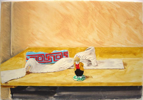 Linda Marrinon Still life with Lord Woodmouse and architectural fragment, 2000; oil on canvas; 36 x 52 cm; enquire