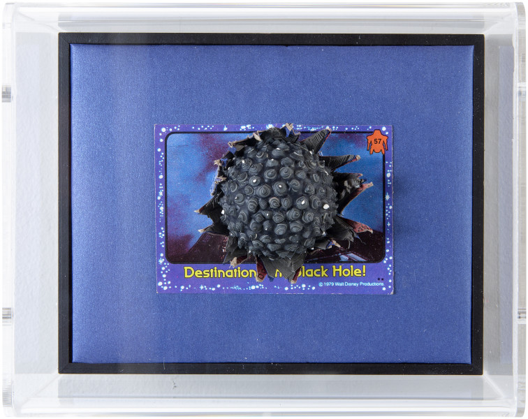 Rohan Wealleans Destination: The Black Hole, 2014; paint and polystyrene on trading cards; 13.8 x 17 x 9 cm; enquire
