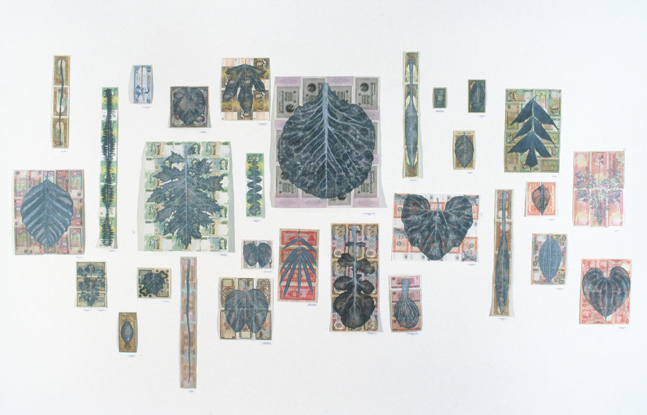 Fiona Hall Leaf Litter, 2000; bank notes, gouache; dimensions variable; enquire