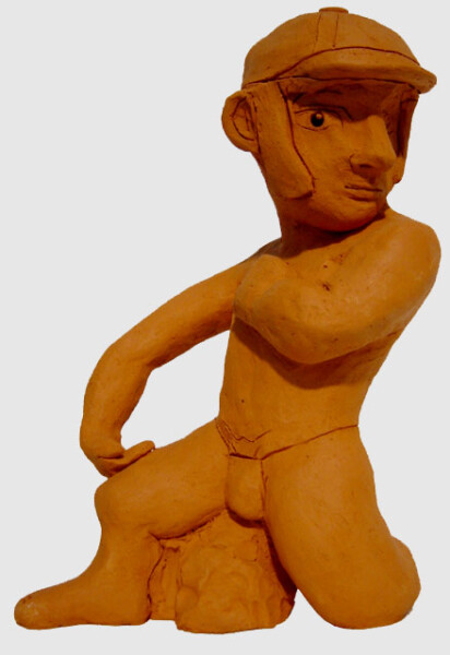 Linda Marrinon Man with Jockey Cap, 1999; Terracotta; 16 x 18 x 12 cm; enquire