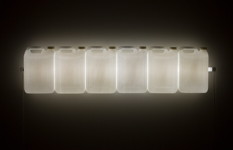 Bill Culbert Strait (White), 2015; fluorescent light, plastic bottles; 30 x 120 x 12 cm; enquire