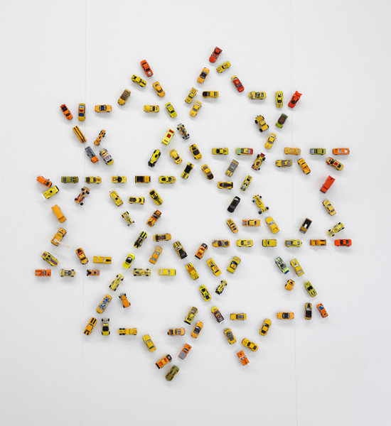 Claire Healy and Sean Cordeiro Autoflake YO120, 2012; toy cars, magnets; 147 x 135 x 4 cm; enquire