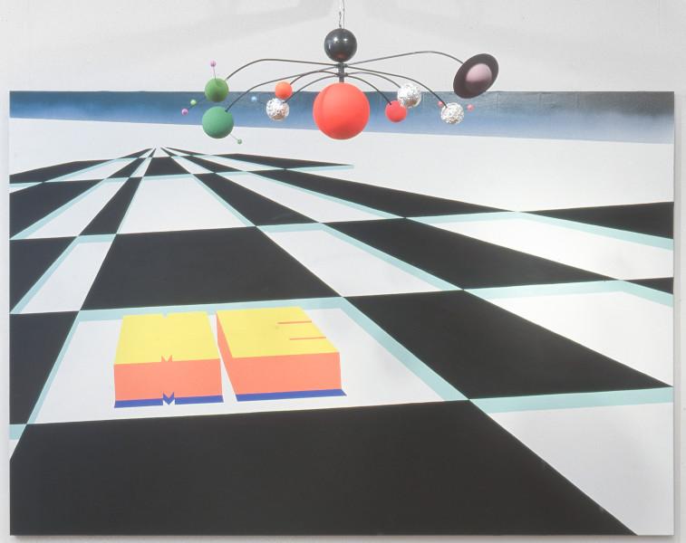 Dale Frank The Pimp of the Universe, 2001; acrylic & fluoro paint on canvas  & mobile; 240 x 360 cm; enquire