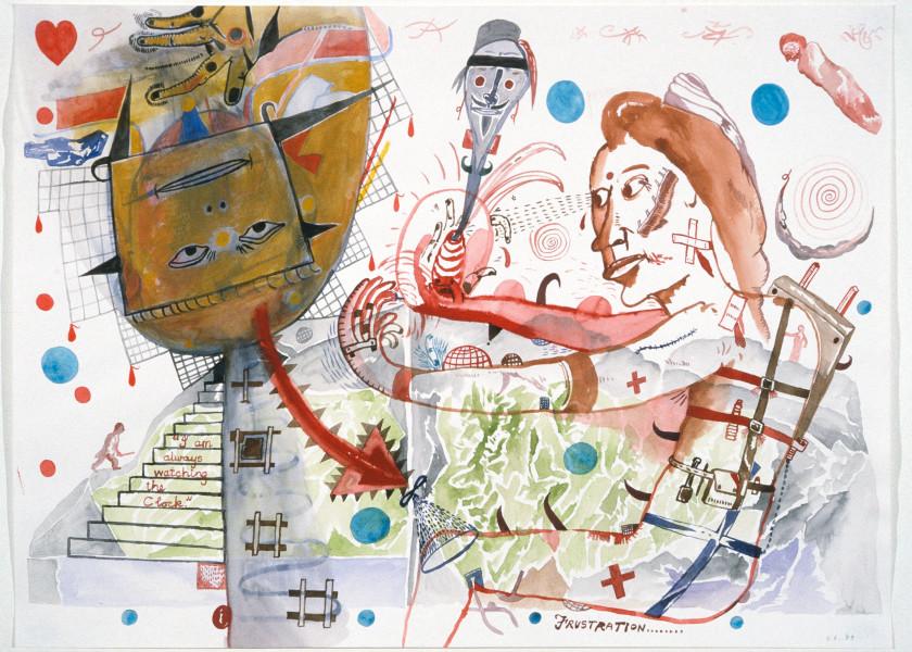 Gareth Sansom Frustration, 1989; watercolour on paper; 56 x 76 cm; enquire