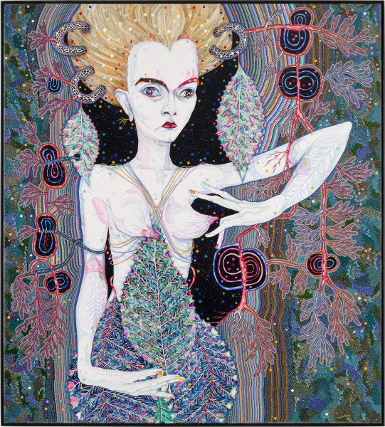 Del Kathryn Barton pressure to the need, 2013; synthetic polymer paint and gouache on polyester canvas; 203 x 183 cm; enquire