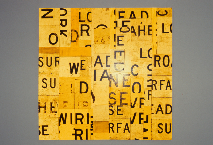 Rosalie Gascoigne Lamplit, 1989; sawn reflective roadsigns on plywood; 182.5 x 183.5 cm; enquire