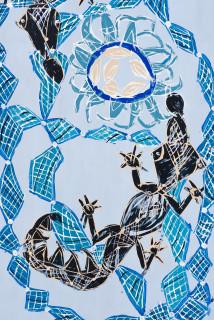 Dhambit Munuŋgurr BiranyBirany (detail), 2021; 4660-21; earth pigments and acrylic on bark; 244 x 110 cm; enquire