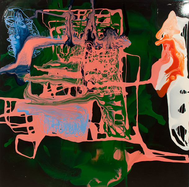 Dale Frank He arranged to meet on the escalator, 2011; varnish on canvas; 200 x 200 cm; enquire