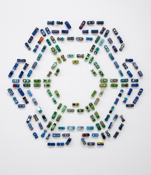 Claire Healy and Sean Cordeiro Autoflake GB150, 2012; toy cars, magnets; 125 x 138 x 4 cm; enquire