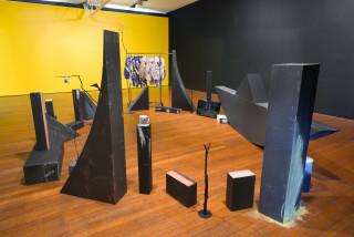 Mikala Dwyer Nest, 2021; wood, bronze, ceramic, chalk, video (building blocks with JW); dimensions variable; enquire