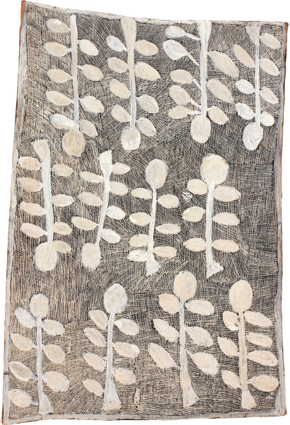 Nyapanyapa Yunupingu Marwat, 2011; 4048K; natural earth pigments on bark; 111 x 77 cm; enquire